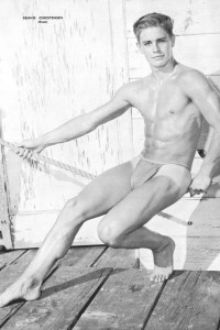 Handsome muscle men vintage physique photo art