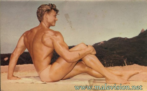 beautiful muscle man in vintage physique photo art