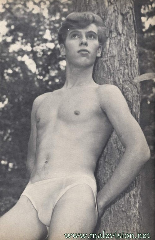 muscle boy in male physique vintage photography