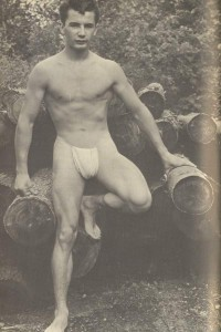muscle man in vintage photo art