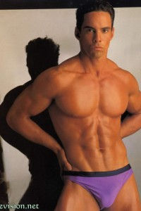 male vintage physique colour photo