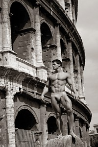 Jed Hill with coliseum on the background