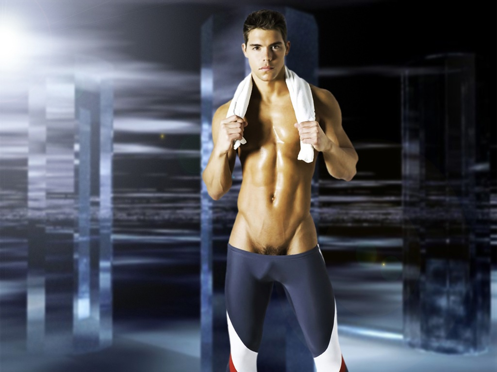 Sport gear naked guy
