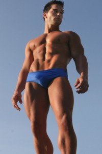 Jed Hill in blue briefs
