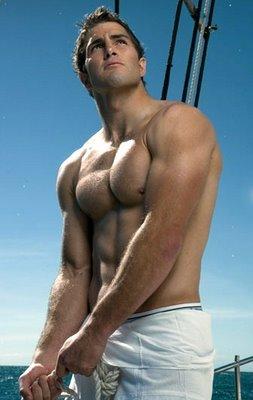 Muscle footballer shirtless