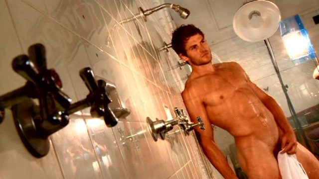muscle man in shower