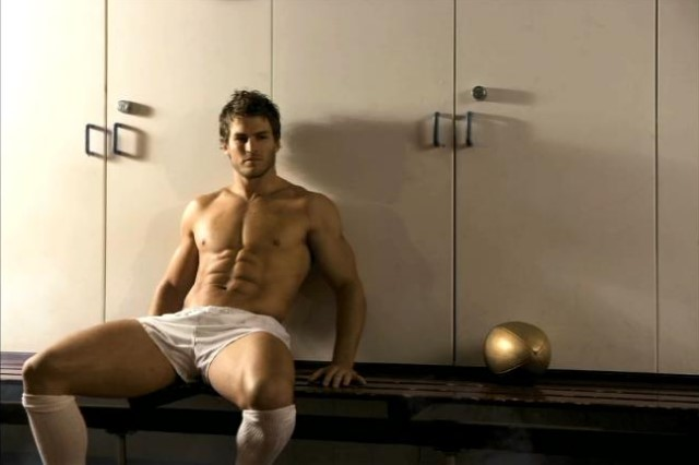 hot muscle hunk in changing room