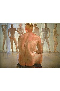 guys showering naked art painting