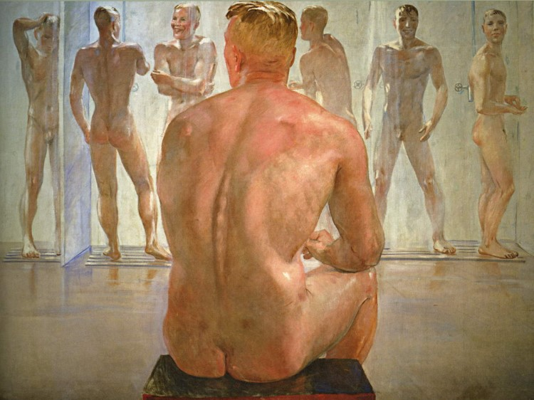 soldiers showering painting