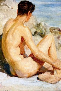 nude guy painting art print