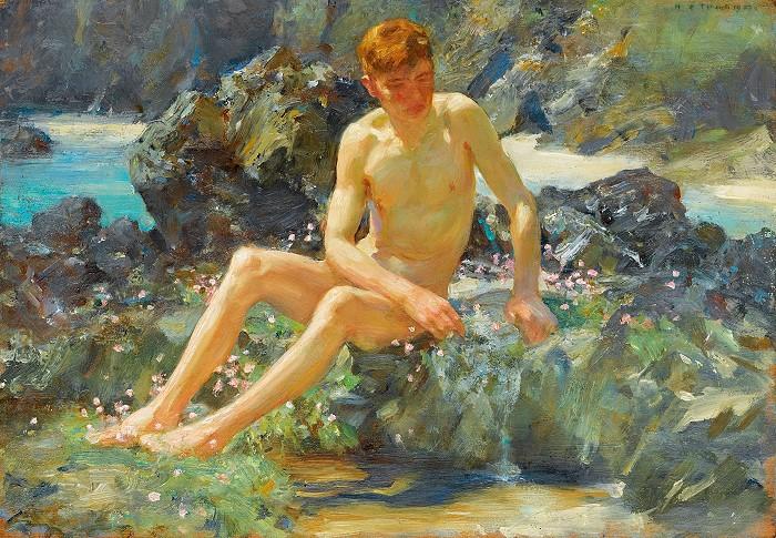 nude boy on rock