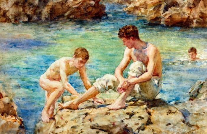 boys swimming naked art