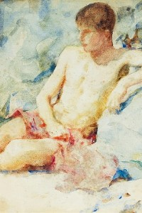 watercolor boy gay art print