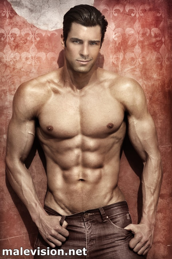 muscled male model art print