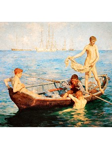 Naked boys in the boat art