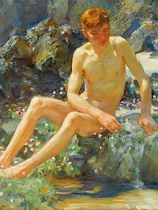 Nude boy on rock