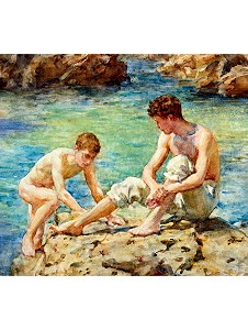 Boys swimming art